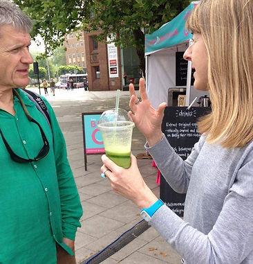 Susan Woodward Nutritional Therapist drinking green juice
