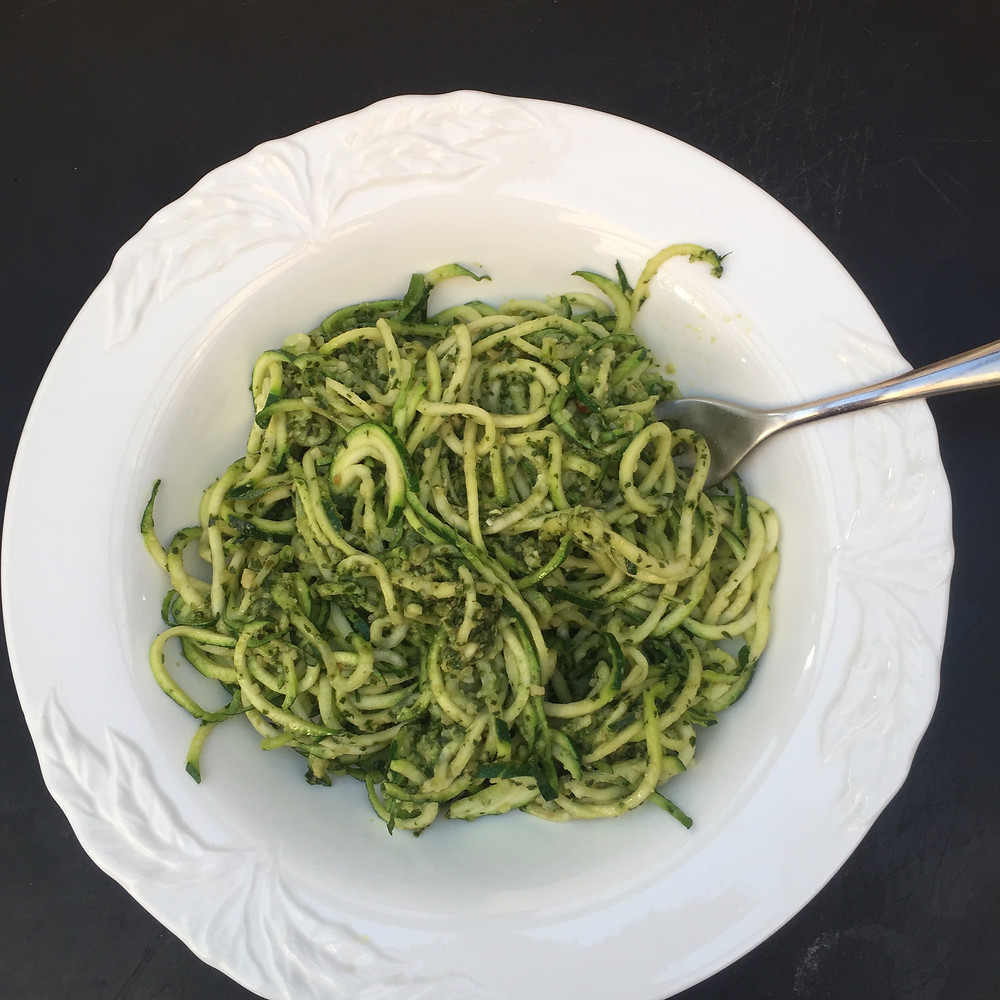 Courgetti Noodles, Zoodles, Gluten Free Past, Pesto