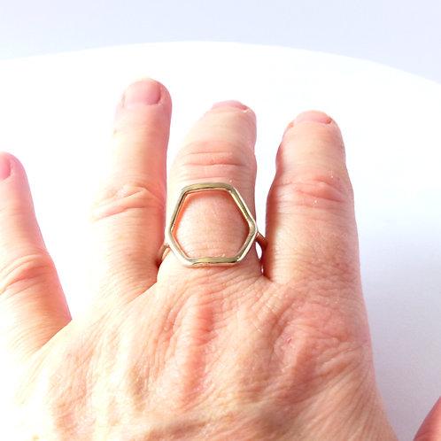 Silver geometric ring, Hexagon