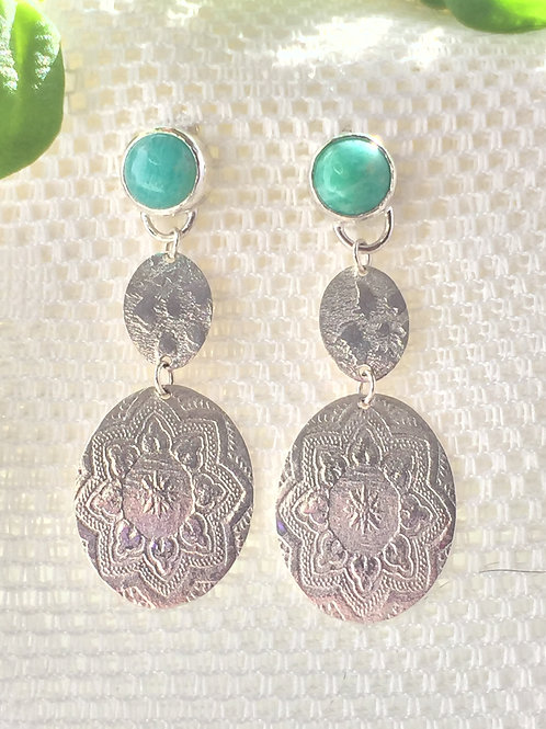 Amazonite and embossed silver earrings