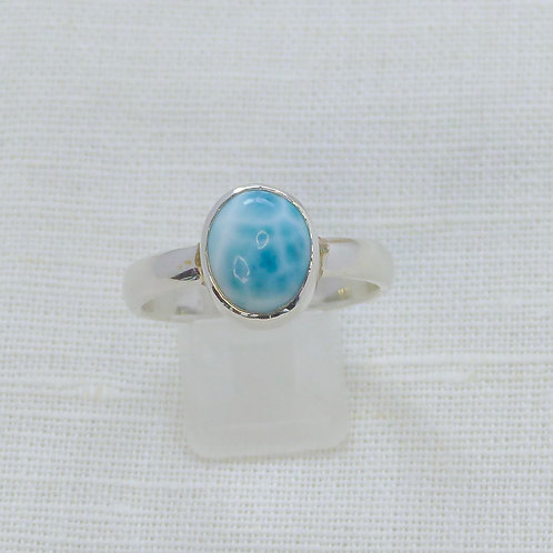 Larimar Ring large size in solid silver setting