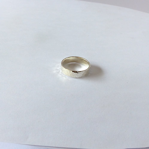 Silver ring bands, textured and plain