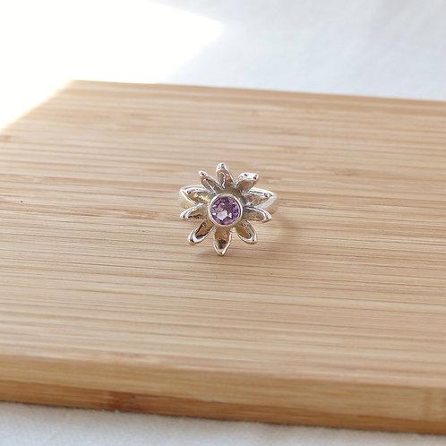 Amethyst Daisy Ring in sterling silver