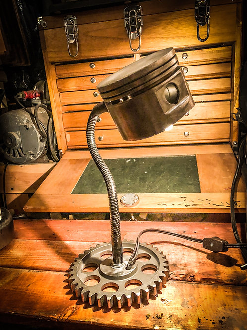 Piston Desk Lamp with timing gear base.