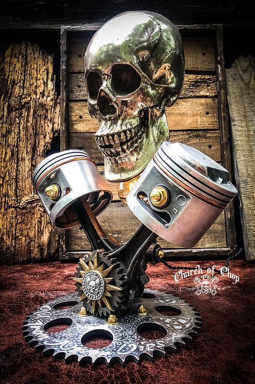 The Bonehead Lamp - Skull & Pistons