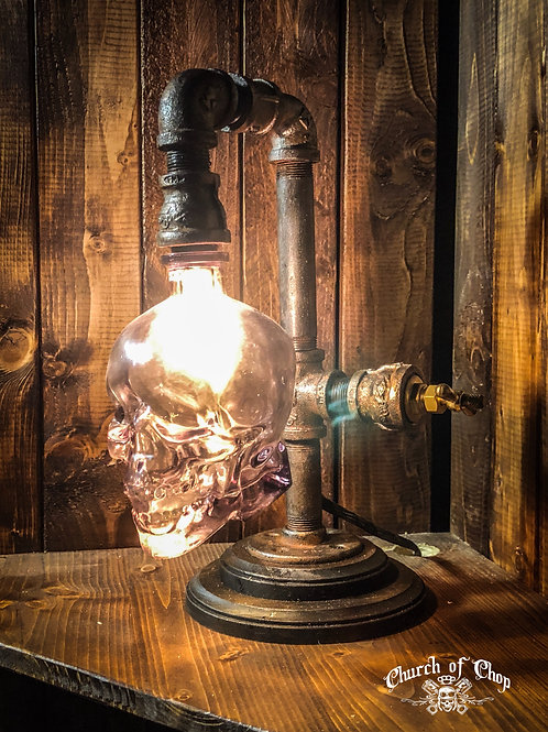 Custom Steampunk Pipe Lamp with Vodka Skull bottle