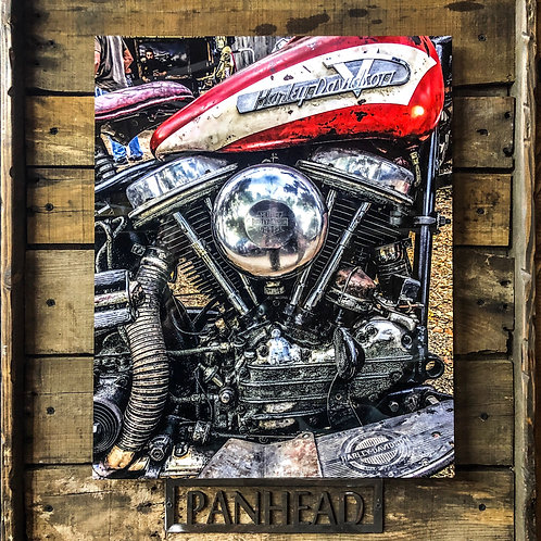 Panhead - Printed on High Def Aluminum - With Custom Barn Wood Frame
