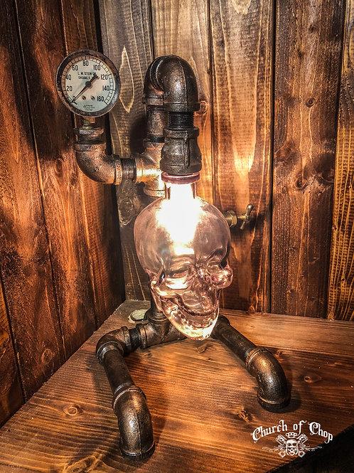 Custom Steampunk Pipe Lamp with Vodka Skull bottle