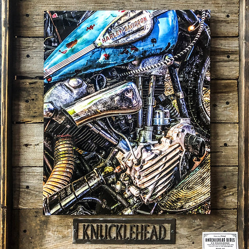Knucklehead - Printed on High Def Aluminum - With Custom Barn Wood Frame