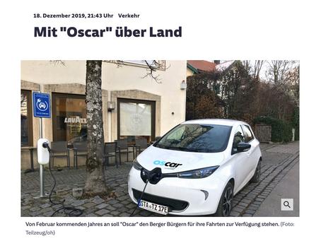 OSCAR: das neue E-Carsharing für die Bürger der Gemeinde Berg