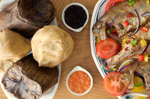 Kenkey and fried fish with Gifty's® Prawn Chilli Relish and Gifty's® Red Hot Chilli Relish