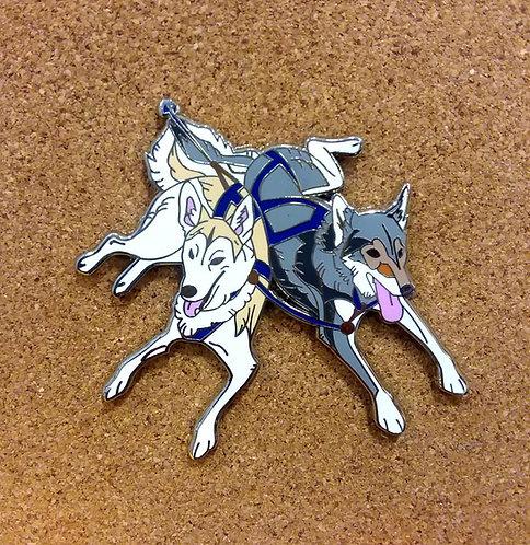 Alaskan Husky Mushing enamel pin
