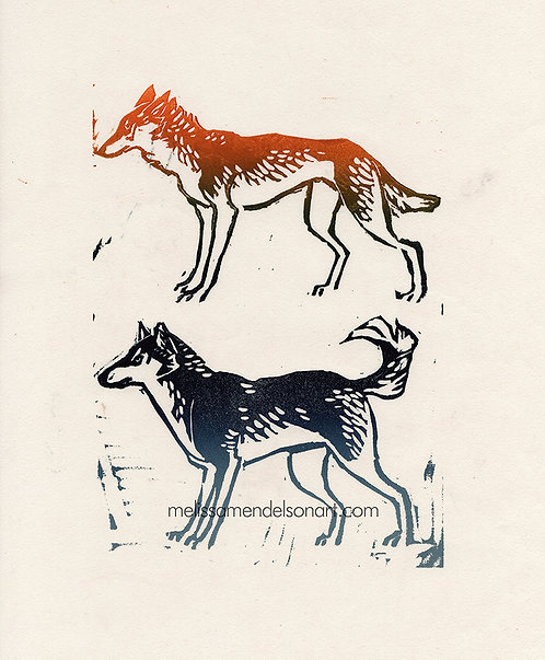 Linoprint - Sled Breeds
