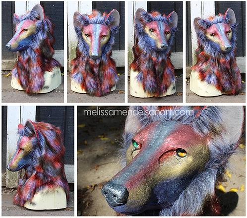 Metallic Rainbow Wolf Fursuit Mask