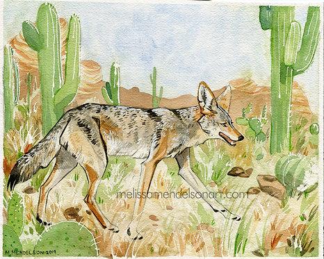 Desert Coyote ORIGINAL watercolor