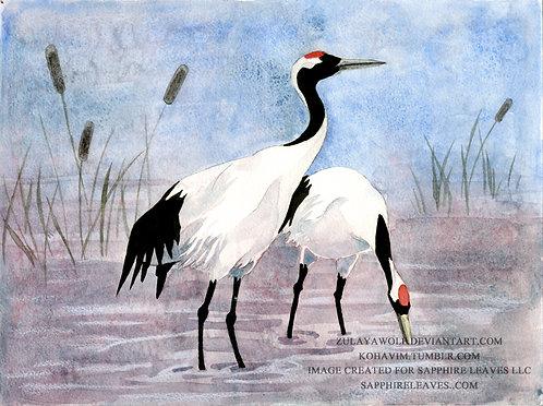 Japanese Cranes ORIGINAL watercolor