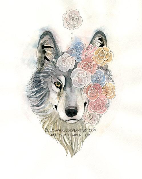 Rose Wolf ORIGINAL watercolor