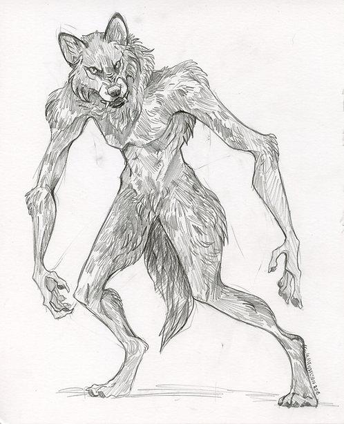 Werewolf graphite drawing ORIGINAL