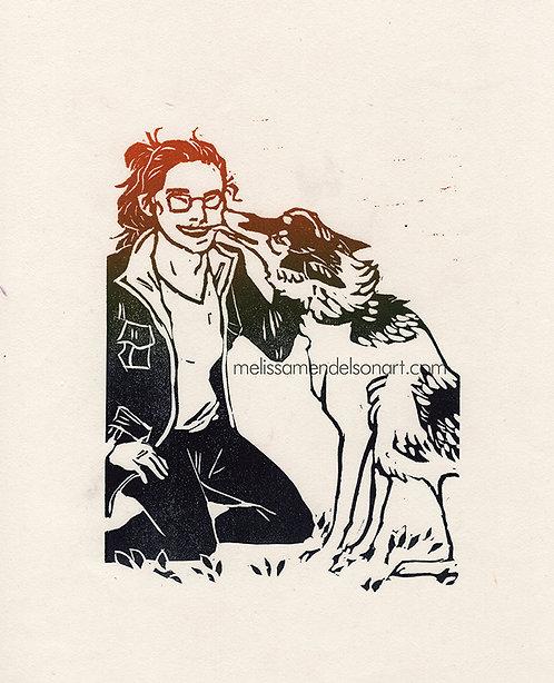 Linoprint - A Very Good Pup
