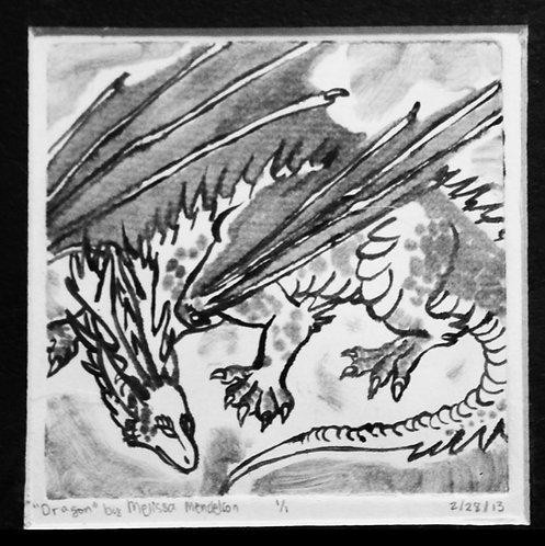 Dragon monoprint ORIGINAL
