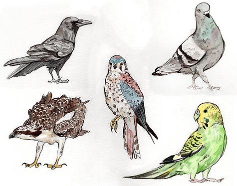 Bird charms ORIGINAL watercolor