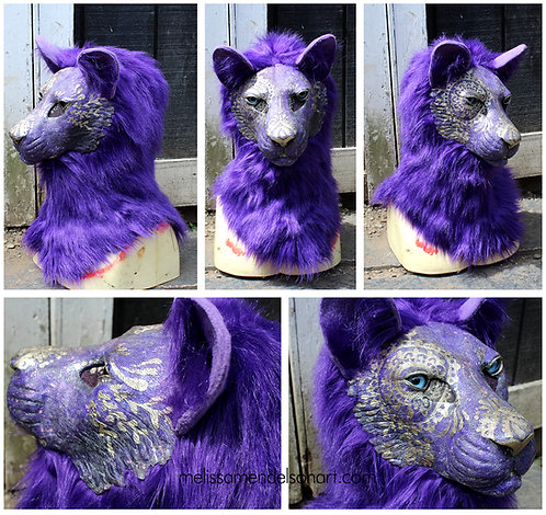 Gold Patterned Feline Fursuit Mask