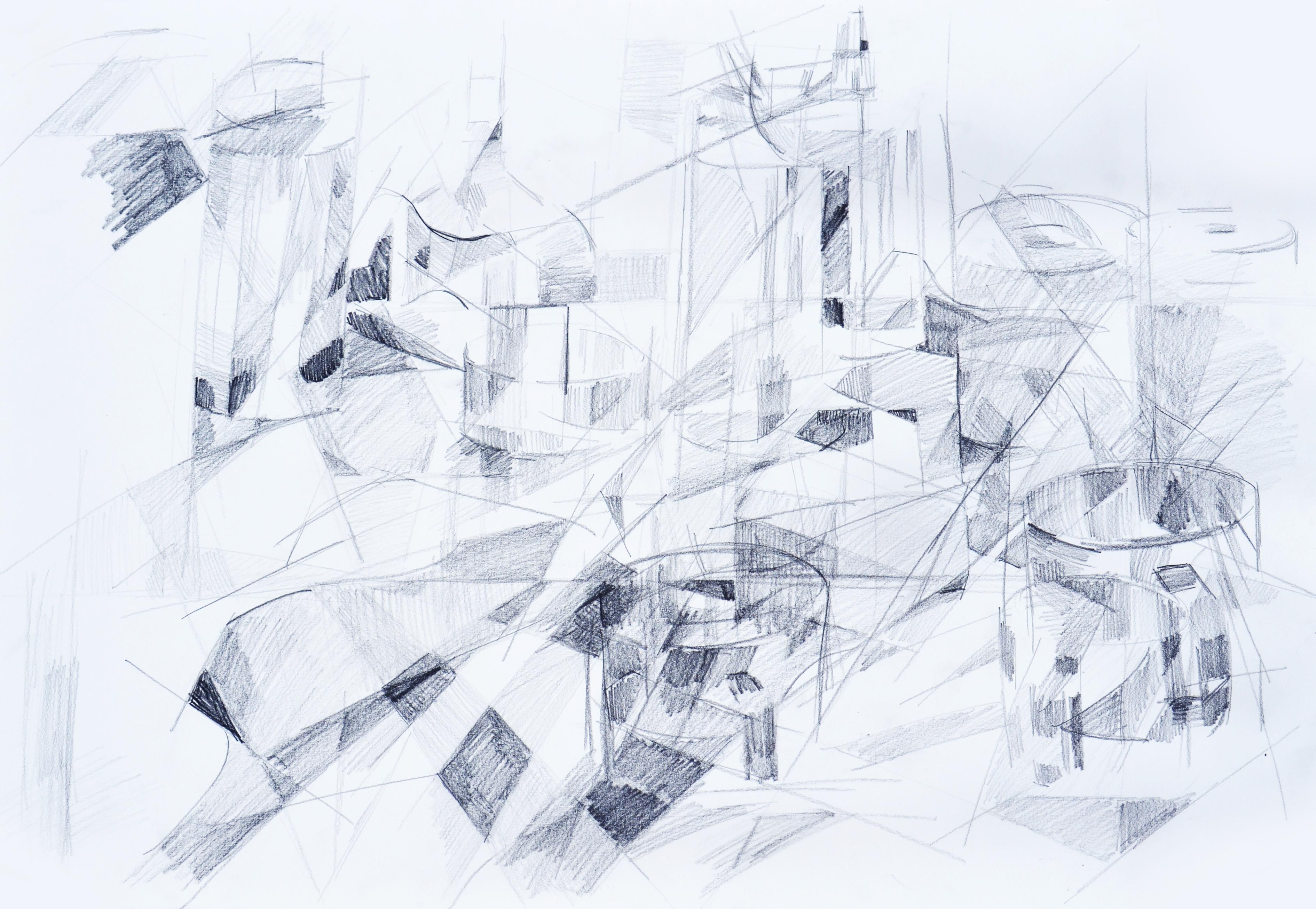Cubism 1 - graphite - 22x30