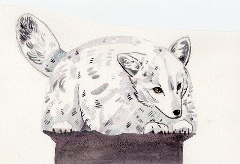 Arctic Fox bag watercolor