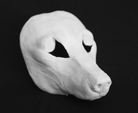 Realistic Canine Wolf Fursuit Mask Resin Blank with Moving Jaw