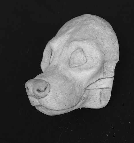 Realistic Striped Hyena Fursuit Mask Resin Blank with Moving Jaw