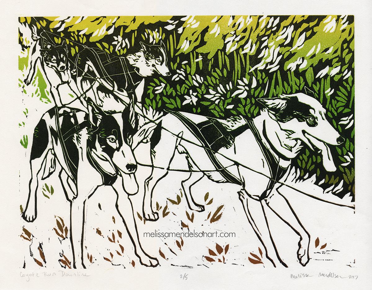 Coyote Run Downline_linoprint_9x12 small