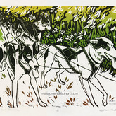 Coyote Run Downline_linoprint_9x12 small