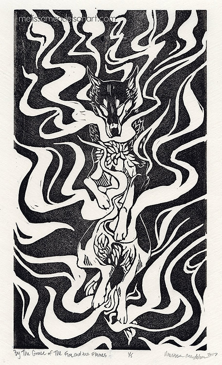 Linoprint - By The Grace of the Fire and the Flames BW