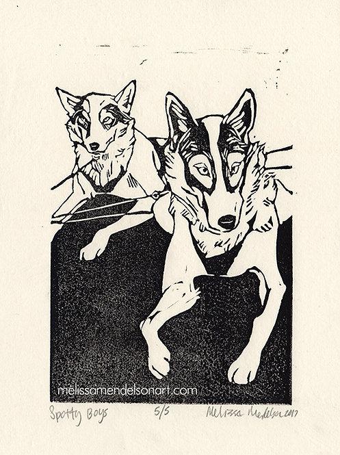 Linoprint - Spotty Boys