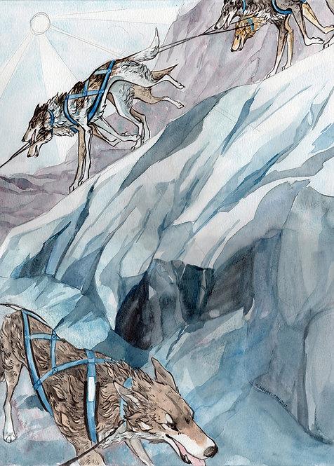 Sleddog mountain ORIGINAL watercolor