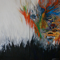 Blacks and Whites Carnaval Diptych