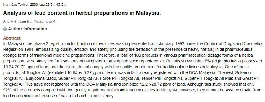 Analysis of lead content in herbal preparations in Malaysia.