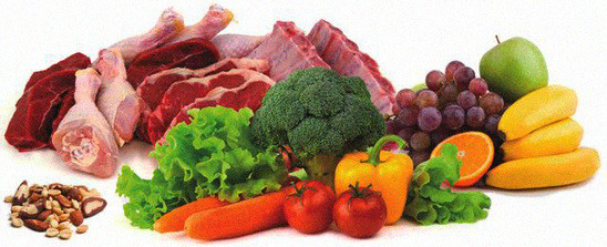 Meat, fruits, vegetables, nuts