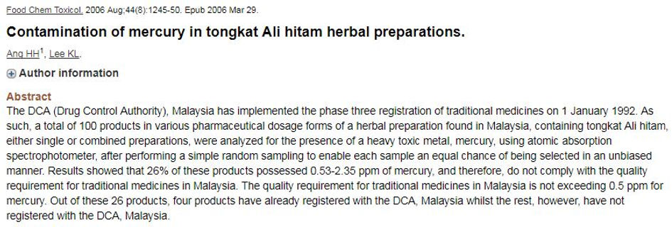 Contamination of mercury in tongkat Ali hitam herbal preparations.