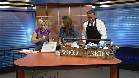WTXL Wood Junkies, Wood Junkies in the News, Press, Wood Junkies Press, Pinterest Party, Paint Cabinetry, Cabinetry Restoration, Wax on Wax off, Chalk Paint, Chalk Paint Waxing