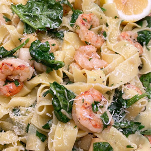 Argentine Red Shrimp & Baby Scallops with Pappardelle & Spinach in White Wine Sauce