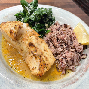 Buttery Baked Chilean Sea Bass with Parmesan & Garlic Spinach