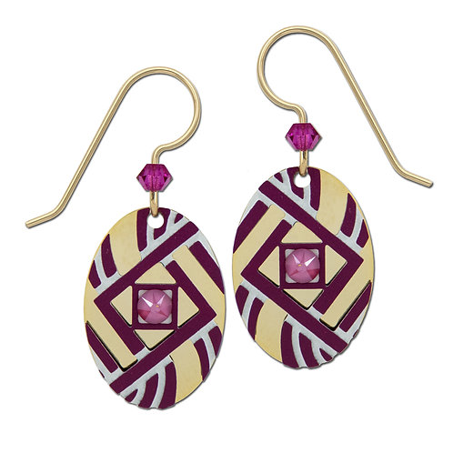 Small Geometric Purple and Tan Ovals