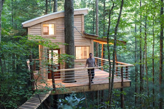 Django Kroner spent three years living in a treehouse he built in Red River Gorge, started Canopy Crew LLC and wrote a book on treehouses.