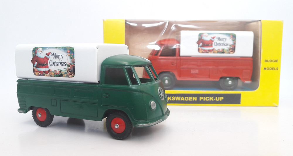 BUDGIE TOYS DIECAST METAL MODEL VW SINGLE CAB PICK UP TRUCK NO. 204 1:43 SCALE MADE IN ENGLAND MERRY CHRISTMAS