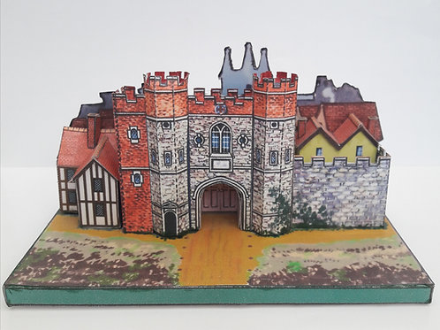CRIPPLEGATE HISTORIC LONDON GATES A5 FULL COLOUR CARD MODEL KIT N GAUGE 2mm