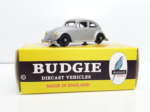 BUDGIE TOYS DIECAST METAL MODEL MADE IN ENGLAND VW BEETLE NO.8 VOLKSWAGEN SALOON CAR 1:76 SCALE SILVER