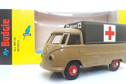 BUDGIE TOYS DIECAST METAL MODEL VW SINGLE CAB PICK UP TRUCK NO. 204 1:43 SCALE MADE IN ENGLAND MILITARY AMBULANCE
