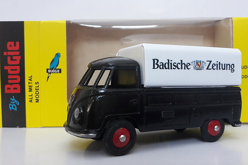 BUDGIE TOYS DIECAST METAL MODEL VW SINGLE CAB PICK UP TRUCK NO. 204 1:43 SCALE MADE IN ENGLAND BADISCHE ZEITUNG