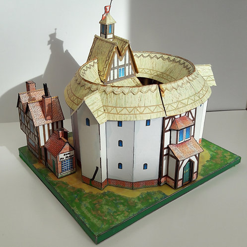 A5 FULL COLOUR CARD MODEL KIT SHAKESPEARE GLOBE THEATRE LONDON STRATFORD UPON AVON FAMOUS HISTORIC BUILDINGS